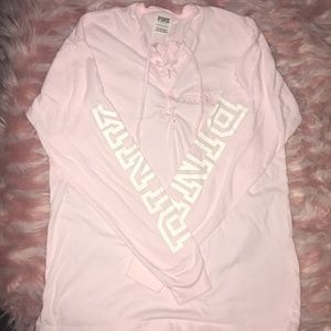 PINK lace-up long sleeve shirt